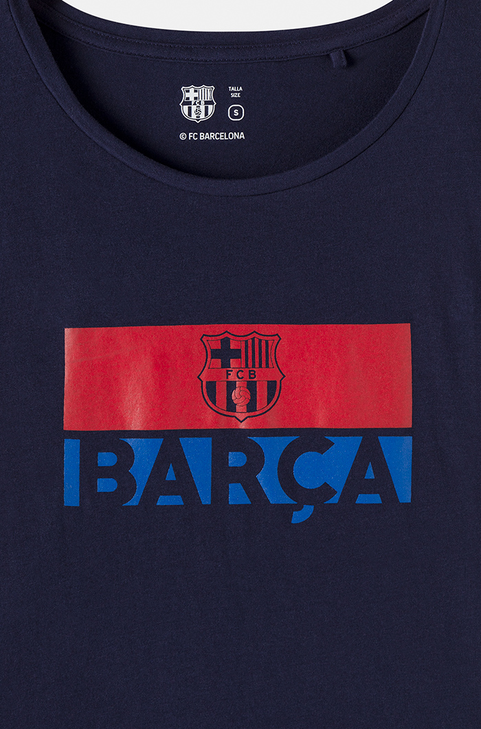 fc barcelona shirt with team crest and logo marine blue t shirts and tops women fashion categories barca store barca store fc barcelona